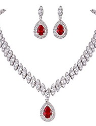cheap -women's cz marquise-shaped leaf teardrop pendant necklace earrings red silver-tone