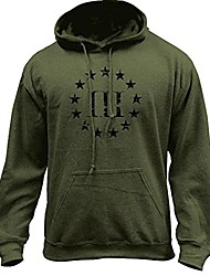 cheap -vintage molon labe 3 percenter iii pullover hoodie (x-large, military green)