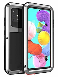 cheap -for samsung galaxy a51 case,aluminum metal gorilla glass waterproof shockproof military heavy duty sturdy protector cover hard case for samsung galaxy a51 (a51, silver)