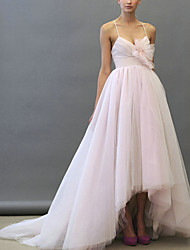 cheap -Ball Gown Wedding Dresses Sweetheart Neckline Asymmetrical Lace Tulle Sleeveless Formal with 2021
