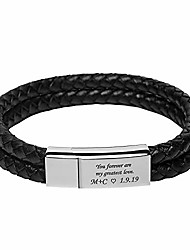cheap -men's engraved personalized bracelet stainless steel and black leather custom id any name initials bracelet