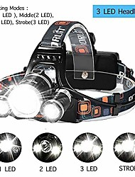 cheap -T1 Headlamps 150 lm LED LED 3 Emitters 4 Mode with Batteries and Chargers Portable Professional Camping / Hiking / Caving Everyday Use Cycling / Bike Rotating Focus Type 1T6-2XPE Headlight + Color