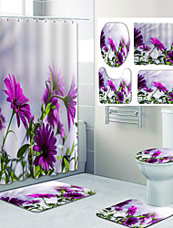 cheap -Beautiful Flower Pattern PrintingBathroom Shower Curtain Leisure Toilet Four-Piece Design