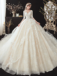 cheap -Ball Gown Wedding Dresses V Neck Chapel Train Lace Short Sleeve Formal Romantic Elegant with Beading Appliques 2020