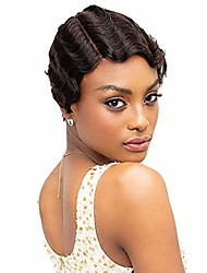 cheap -8 inch glueless short finger wave wigs 100% unprocessed brazilian remy virgin human hair wavy short classical ocean wave wigs 150% density mommy parting wigs with elastic bands (8 inch, 1b#)
