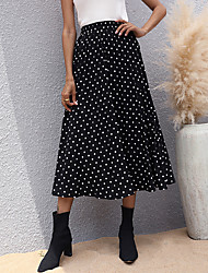 cheap -Women's Daily Wear Festival Chinoiserie Cotton Skirts Polka Dot Black / Loose