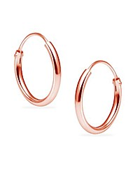 cheap -sterling silver endless hoops 1.2mm x 12mm thin round unisex earrings set for women & girlss rose gold flashed