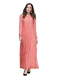 cheap -women's girl fashion muslim dress long sleeve slim lace kaftan abaya middle east arab islamic turkish long maxi dress pink