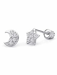 cheap -14k white gold star & moon stud earrings with screw back