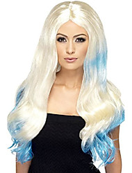 cheap -smiffy's women's long blonde wig with blue dip dye and centre part, one size, 5020570423745