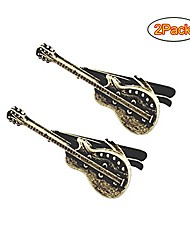cheap -guitar shape music musician tie clip tie bar for skinny necktie with gift bag (2pcs)
