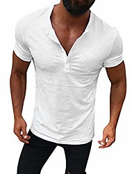 cheap -casual slim fit short sleeve henley t-shirts cotton shirts s-2xl white