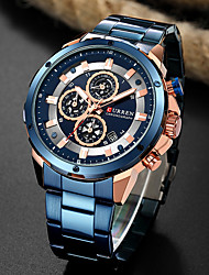 cheap -men's luxury quartz watches casual analog calendar chronograph stainless steel waterproof wrist watch