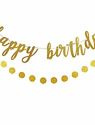 cheap -gold glittery happy birthday banner and gold glittery circle dots garland- birthday party decorations,kids birthday party decor,home decor