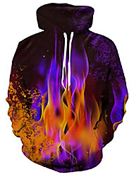 cheap -men's hoodies 3d printed colorful fire graphic pullover hoodie funny black sweatshirt for daily sports wear size s