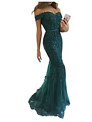 cheap -women's floral lace wedding dress for bride mermaid off the shoulder long evening gowns blackish green us 10