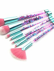 cheap -makeup brush set makeup brushes set clear crystal sequins diamond handle makeup brush set liquid sand liquid filling handle make up brushes 7pcs/set fytlkj (color : multi-colored, size : onesize)