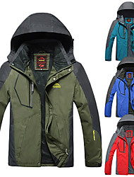 cheap -Men's Hoodie Jacket Hiking Jacket Hunting Rain Jacket Winter Outdoor Thermal Warm Lightweight Windproof Breathable Winter Jacket Top Full Length Visible Zipper Camping / Hiking Hunting Fishing Red