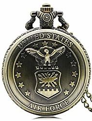 cheap -retro gift new bronze air force eagle stars quartz chain pocket watch for men