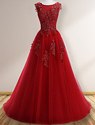 cheap -A-Line Elegant Floral Engagement Prom Dress Jewel Neck Sleeveless Sweep / Brush Train Tulle with Appliques 2020