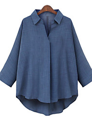 cheap -Women's Plus Size Blouse Shirt Plain Long Sleeve Shirt Collar Tops Streetwear Basic Top White Black Blue