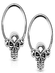 cheap -set of 14g 12mm surgical steel skull cbr hoops for ear lobes/cartilage/nipples