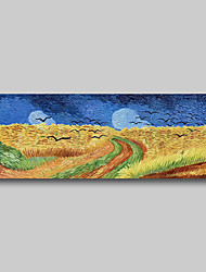 cheap -Hand Painted Van Gogh Museum Quality Oil Painting - Abstract Landscape Wheat Field with Crows Modern Large Rolled Canvas