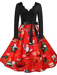 cheap -Women's A-Line Dress Knee Length Dress Long Sleeve Floral Fall Spring Formal Vintage Christmas 2021 Red S M L XL XXL 3XL