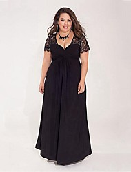 cheap -Women's Swing Dress Maxi long Dress Black Blue Red Short Sleeve Solid Color Lace Patchwork Summer V Neck Sexy 2021 XXL 3XL 4XL 5XL 6XL / Plus Size