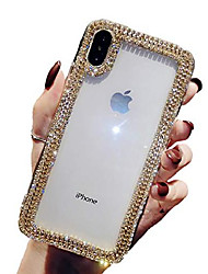 cheap -for iphone xs max case 3d glitter sparkle bling case luxury shiny crystal rhinestone diamond gold chain clear protective case cover for iphone xs max gold