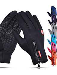 cheap -Winter Gloves Running Gloves Full Finger Gloves Anti-Slip Touch Screen Thermal Warm Cold Weather Men's Women's Lining Zipper Skiing Hiking Running Driving Cycling Texting Fleece Neoprene Winter / SBR