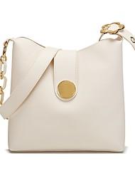 cheap -Women's Bags Leather Bucket Bag Crossbody Bag Zipper Daily Outdoor Handbags Baguette Bag MessengerBag White Black Brown