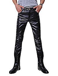 cheap -mens stylish straight flex faux leather pants fitted slim trousers, black s (30),manufacturer(l)