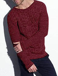 cheap -Men's Pullover Knitted Solid Color Acrylic Fibers Long Sleeve Sweater Cardigans Crew Neck Fall Spring Gray Green Dark Gray