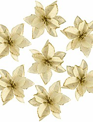 cheap -36pcs glitter poinsettia christmas tree ornament, artificial poinsettia flowers decorative artificial flowers for christmas tree wedding decorations xmas tree wreaths (gold)