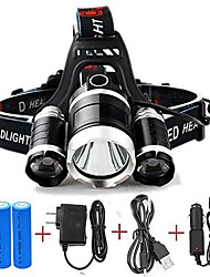 cheap -T1 Headlamps 150 lm LED LED 3 Emitters 4 Mode with Adapter Portable Professional Camping / Hiking / Caving Everyday Use Cycling / Bike US Plug Black