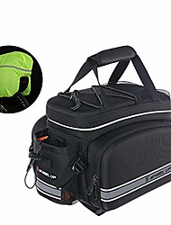 cheap -lyq sports bicycle pannier bicycle rear seat adjustable hooks reflective trim and large pockets bicycle trunk bag with rain cover shoulder strap bike pannier for road bikes mountain bag triangle saddl