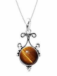 cheap -925 sterling silver pendant with natural gemstones for women & (tiger-eye)