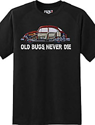 cheap -old bugs never dies volkswagen bug car gift t shirt new graphic tee (2xl) black