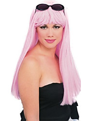 cheap -glamour long wig with bangs, pink, one size