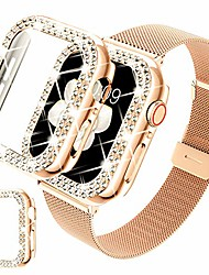 cheap -compatible for apple watch band 44mm with case, stainless steel mesh strap replacement wristband with shiny protective bling bumper frame cover for iwatch se series 6/5/4(44mm, rosegold)