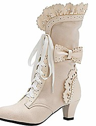 cheap -women vintage boots ankle high lace up lolita boots lotus ruffle party shoes mid cone heel gothic boots bowknot beige size 33 asian
