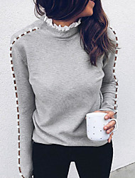 cheap -Women's Hollow Hollow Out Solid Color Pullover Long Sleeve Sweater Cardigans Turtleneck Fall Winter Gray