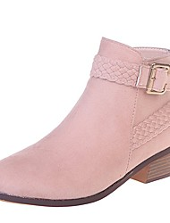 cheap -Women's Boots Block Heel Pointed Toe Daily Walking Shoes Nubuck Buckle Leopard Black Pink Brown / Booties / Ankle Boots