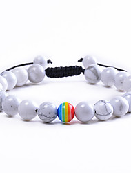 cheap -8mm beaded braided bracelet couple rainbow lgbt pride bracelets for gay lesbian adjustable white turquoise jewelry gift