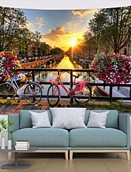 cheap -Wall Tapestry Art Deco Blanket Curtain Picnic Table Cloth Hanging Home Bedroom Living Room Dormitory Decoration Polyester Fiber Landscape River Bridge Bicycle Sunset White Clouds