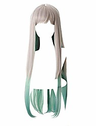 cheap -yashiro nene wig cosplay long straight with bangs silver gradient green wigs costume accessory for anime fans