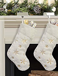 cheap -christmas stockings, 4 pcs 19 inches polyester classic red and white plush mercerized velvet stockings, for family holiday xmas party decorations