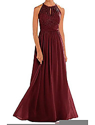 cheap -high neckline halter lace bridesmaid dresses long a-line chiffon floor-length formal gowns dark burgundy us4