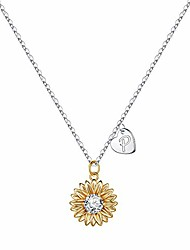 cheap -initial sunflower necklaces for women, 14k gold plated sunflower necklace cz heart initial letter sunflower pendant necklace you are my sunshine sunflower jewelry gifts for women girls p